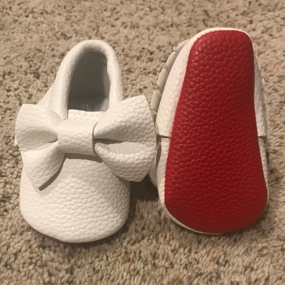 f8193ce2cbb Brand New White Red Bottom Baby Moccasin Louboutin Boutique